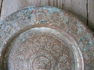 Vintage Islamic Middle East Hand Chased Copper Tinned Platter Plate 6 5 Patina