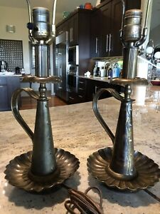 Monterey Furniture Era C 1930s Patinated Brass 23 Table Lamps