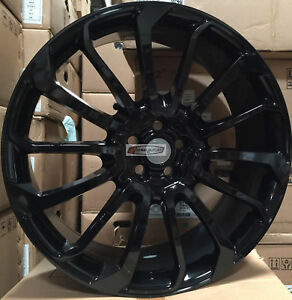 22 Autobiography Style Wheels Gloss Black Rims Tires Fit Range Rover