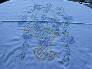 Antique White Over The Pillow Sham A Fabulous Hand Embroidered Flower Basket