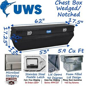 Tbc 62 wn blk Uws Aluminum Truck Toolbox Black Notched Wedge Chest Box