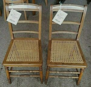 2 Victorian Cane Bottom Fully Refinished 1880 90 S Chairs Farmhouse Vg Cond