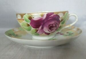 Nippon Japan Hand Painted Tea Cup Saucer Purple Rose
