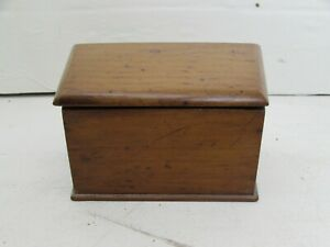 Antique Small Size Honey Oak Filing Box Index Card Holder