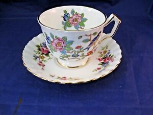 Vintage Tea Cup And Saucer Birds And Floral Decoration