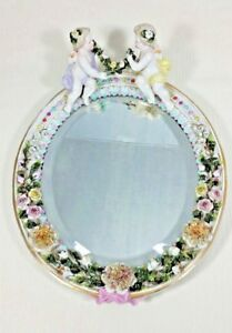 Antique Sitzendorf East Germany Porcelain Oval Wall Or Table Beveled Mirror