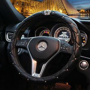 Car Steering Wheel Cover 38cm 15 Deluxe Leather Bling Diamond Crown For Queen