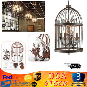 Vintage Iron Birdcage Ceiling Pendant Light Chandelier Lamp Crystal Lamp Bronze