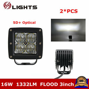 2x 3inch 16w Square Cube Pods Flood Led Work Light Offroad Car Truck 5d Optical