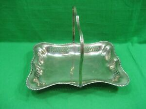 Vintage Rectangular Silver Plated Serving Platter Tray With Moveable Handle
