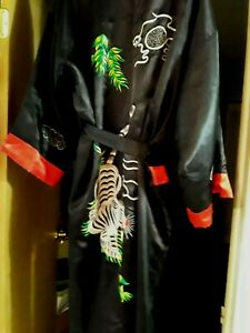 Vintage Oriental Chinese Robe Embroidered Tiger Dragon Multi Color Reversable
