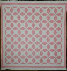 Beautifully Quilted Vintage 1932 Pink White Quilt Romantic Cottage
