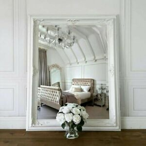 Vintage French Style Ornate Framed Mirror White Beveled Wall Hollywood 49 X 38