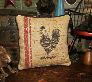 Primitive Antique Vtg Style Country Farm Rooster Chicken 9 Pillow Tuck