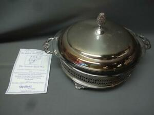 Sheffield Silver Plate Covered Casserole Dish Pyrex Bowl