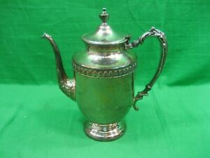 Vintage Antique Silver Plated On Copper Metal Coffee Teapot On Pedestal
