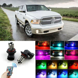 For Ram 1500 2500 3500 13 18 Wireless Ir Remote Multi Color Rgb Led Fog Light 2x