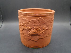 Japanese 1920 S Nice Decorated Red Clay Big Brush Pot S6955