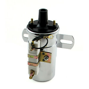 12v 60k Electronic Round Oil Filled Female Round Canister Ignition Coil Chrome