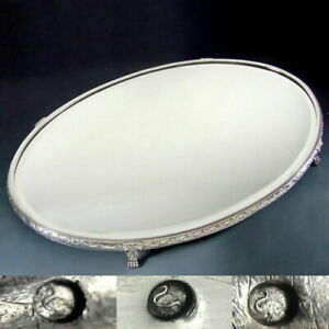 Antique French 800 Silver Vanity Table Mirror Plateau Tray Beveled Glass