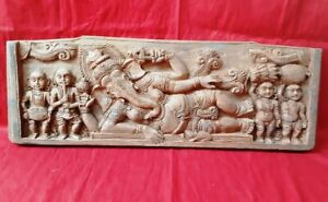 Wooden Ganesh Wall Panel Ancient Antique Ganapathi Hand Carved Panel Home Decor
