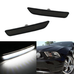 Smoked Lens Pure White Led Front Side Marker Lights For 2010 2014 Ford Mustang