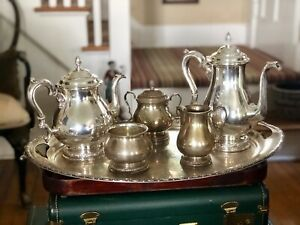 Antique Sterling Silver International Prelude 5 Pc Tea Set Plus Large Tray