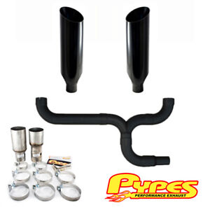 Ford 7 3l Super Duty Powerstroke Diesel 10 Miter Cut Pypes Dual Stack Kit Black