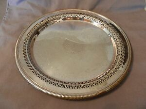 Vintage International Silver Co Round Serving Platter Lattice Scroll M