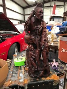 Antique Chinese Carved Wood Immortal Or Fisherman With Fish Basket 16
