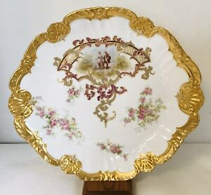 L S S Lewis Strauss Sons Limoges France Hand Painted Floral Gold Charger