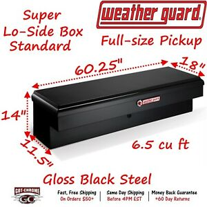 176 5 01 Weather Guard Black Steel Super Lo Side Mount Box 60 Truck Toolbox