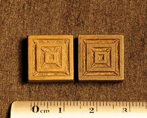 2 X Art Nouveau Ornament Bookbinding Brass Type Letterpress Hot Stamp Squares