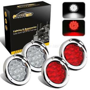 2xred 2xwhite 15led 4 Round W 8 Chrome Ring Tail Stop Turn Backup Light Utility