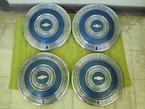 1970 Chevrolet Hub Caps 15 Set Of 4 Blue Wheel Covers 70 Hubcaps Monte Impala