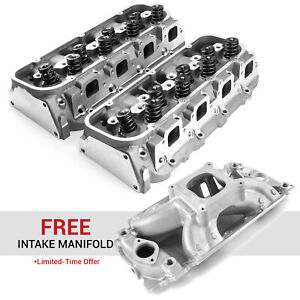 Chevy Bbc 454 320cc 119cc Hydr R Complete Cylinder Heads Free Intake