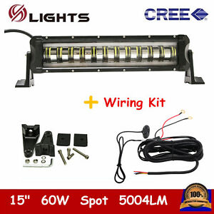 60w 15 Led Light Bar Spot White Strobe Flashing Offroad Rzr Drl Ford wiring Kit