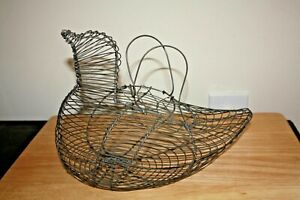 Vintage Egg Holder Wire Basket Hen Chicken Bird Metal W Handles 12 Handmade