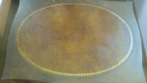 Antique Leather Gold Gilt Mahogany End Table 326 Signed