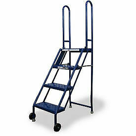4 Step Folding Rolling Ladder Stand Perforated Tread 1 Each