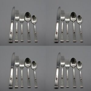 20pc Set Reed Barton Sterling Silver Classic Rose Service For Four