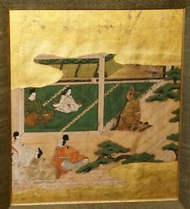 18c Japanese Tosa School Framed Album Leaf Painting Of Court Scenes Rgr 2nd