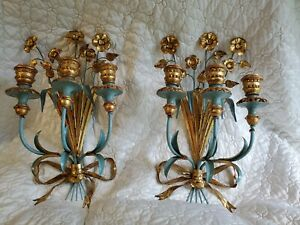 Mid Century Hollywood Regency Italian Tole Wall Sconces Vintage French Blue
