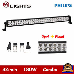 32inch 180w Led Light Bar Offroad Truck Spot Flood Combo Rzr Ford Philips 30 33