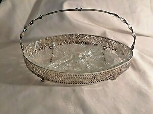 Silver Plated Queen Anne Divided Cut Glass Serving Dish Relish Platter Vintage