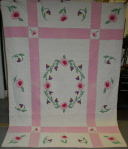 Antique Quilt Pastel Floral Applique Exceptional Quilting Pink