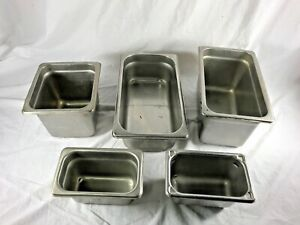 Steam Table Pans Mixed Lot Of 5 Don Adcraft Abc Vollrath Stainless Steel Pans