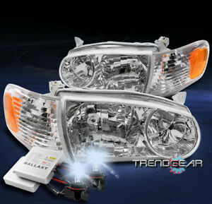 For 2001 2002 Toyota Corolla Replacement Chrome Headlights Headlamps W 8000k Hid