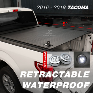 2016 2020 Tacoma Tonneau Cover Retractable Waterproof Aluminum 5ft Truck Bed led