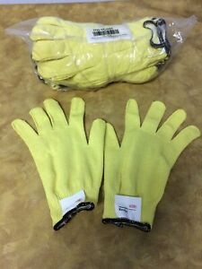 12 Pair Safety Gloves Made with Kevlar Cut Resistant Level 2 Yellow Large $16.99